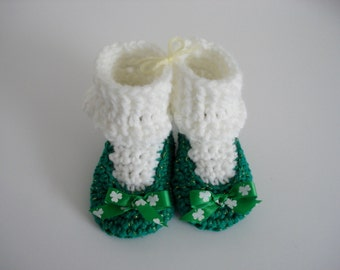 St. Patrick's Day Little Irish Girl Crochet Baby Booties Shoes Kelly Green and Gold with White Socks Clovers Lucky Ireland 3-6 Months Size