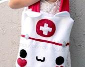 ON SALE Cat Nurse Tote Bag Bag - Schoolbag, Backpack, Bookbag, Animal Tote Bag, Doctor Bag, Colorful Handmade Tote, Women's Tote,  Christmas