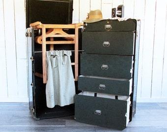 "1920s Beals & Selkirk Wardrobe Trunk - Steamer Trunk ""A Virtual Closet in a Travel Trunk"""