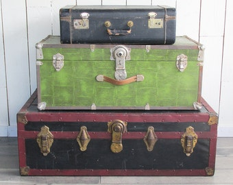 """Green Litho Metal Sided Mid Century Trunk """"Great for Coffee Table, Storage, Decorating"""""""