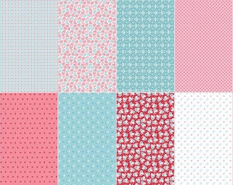 Riley Blake Lori Holt Calico Days Quilt Fabric Fat 8th Panel Pink
