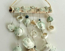 WIND CHIME -Seashells- White Ceramic Windchime,Outdoor Art-Indoor Mobile, Garden Art, Ocean Motif