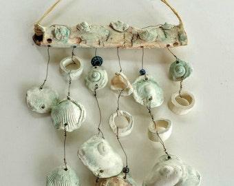 WIND CHIME -Seashells- White Ceramic Windchime,Outdoor Art-Indoor Mobile, Garden Art, Ocean Motif