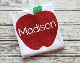 pretty fun glitter apple name shirt
