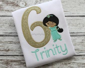 pretty princess Jasmine inspired birthday shirt