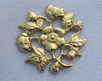 15mm Flower Decorations Filigree Raw Brass Jewelry Findings bf036 (20pcs)