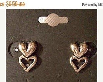 ON SALE Double Heart Stud Pierced Post Earrings Silver Tone Vintage Smooth Puffed Cutout