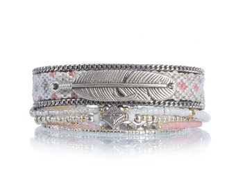 Bohemian bracelet multistrand set - multiple strands beaded bracelet - coral bracelet - pastel friendship bracelet with feather charm