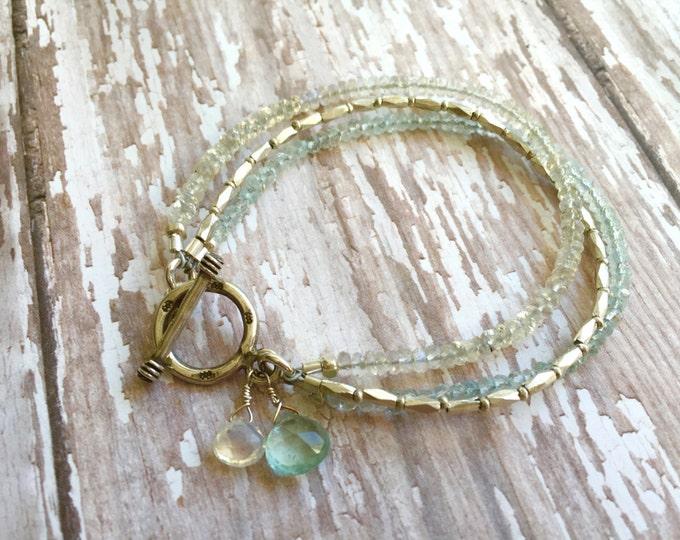 Aquamarine, Moonstone and Silver Beaded Bracelet
