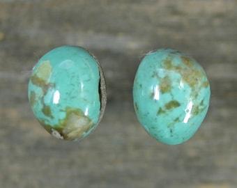 Turquoise cabochons set Kingman mine,  A-74