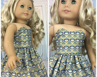 Blue and Gold 18 inch doll dress ball gown fits american girl size doll
