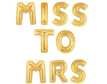 """16""""  MISS TO MRS Balloons Bridal Shower Gold Balloon Silver Custom Name Sign Bachelorette Party Decor Engagement Party She Said Yes Air Fill"""