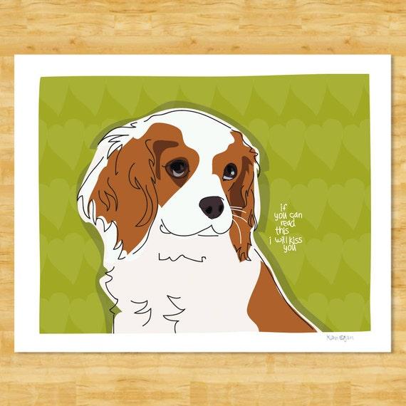 Cavalier King Charles Spaniel Art Print - I Will Kiss You - Cavalier Gifts Dog Pop Art