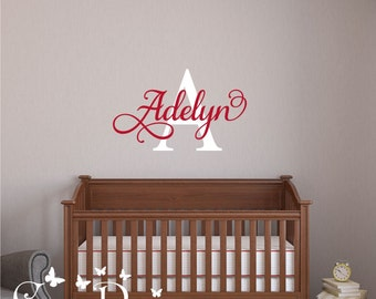 Monogram Name Vinyl Wall Art, Initial and name vinyl decal, nursery, kids & teens room, custom removable decals stickers