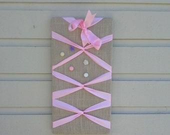 Ballerina themed pinboard with burlap, and laced satin ribbon, accented with a bow, optional designer pushpins, girl decor