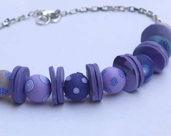 Purple beads necklace, polymer clay, millefiori