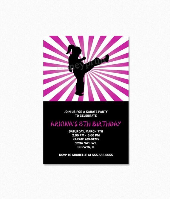 Karate Birthday Party Invitation Ninja Birthday By Honeyprint
