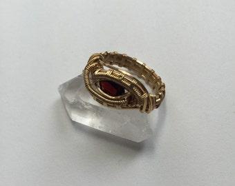 Size 6 Brass & Garnet Ring