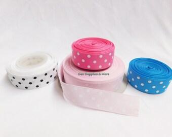 "7/8"" Polka Dot Grosgrain Ribbon, Ribbon for bows, Hair bows, Bows, Headbands, Polka Dot Ribbon, Wreath"