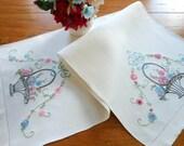 Vintage Linen Table Runner or Dresser Scarf Basket of Flowers