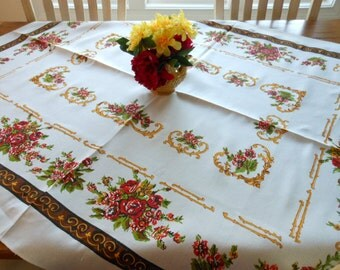 Like New Beautiful Vintage Linen Print Tablecloth
