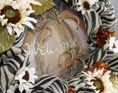 White Sunflower Autumn Wreath