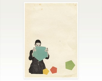 CLEARANCE SALE! A3 Male Portrait, Mid Century Geometric Print - Discovering New Shapes