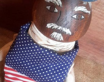 Prims magazine patriotic doll 4th of July memorial day primitive doll grungy doll early american doll colonial doll free shipping