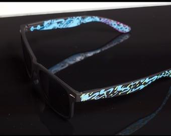 Emmanuel Vaughn's Blue Savor- custom sunglasses - eyewear - personalized - bachelorette - fashion - paint - dope - swag - stylish - creative