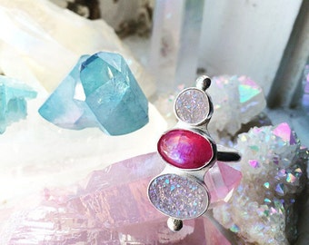 Angel Aura Druzy and Pink Moonstone Sterling Silver Ring - size 6
