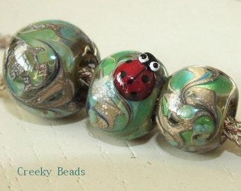Handmade Large holed lampwork beads - Lady bird - Creeky Beads SRA