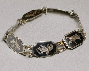 Siam Silver Bracelet, Nielloware, Ramakien, Niello, 6-5/8 Inches, Vintage Thailand