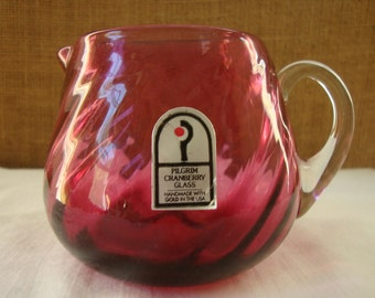 VINTAGE CRANBERRY Blown Glass Creamer Pitcher Made with Gold Creamer Mid Century Pilgrim Cranberry Glass Swirl Pattern With Foil Sticker