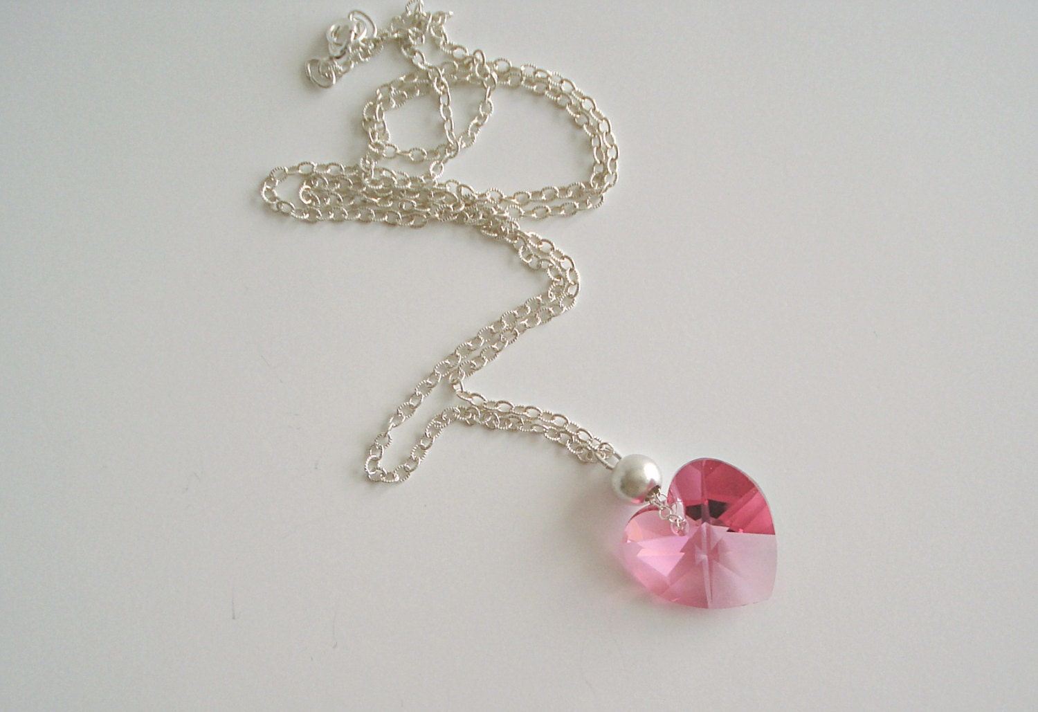 pink heart necklace swarovski crystal by lovelyjewelsboutique