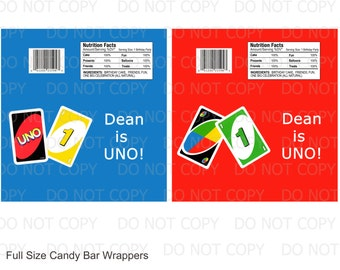 Printable DIY UNO Theme Birthday Full Size Candy Bar Wrappers - 2 designs personalized