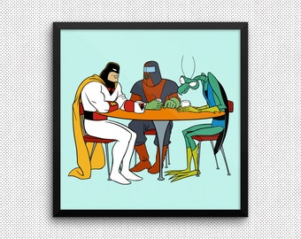 Space Ghost Art Print (Multiple Colors & Sizes) (Space Ghost: Coast to Coast)