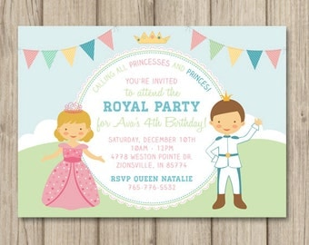 PRINCESS and PRINCE BIRTHDAY Party Invitation, Princess Birthday Party Invitation, Princess Party, Princess Invitation, Printable 5x7