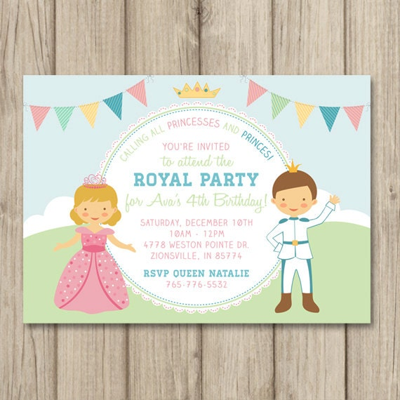 PRINCESS and PRINCE BIRTHDAY Party Invitation Princess