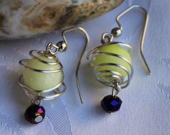 Yellow earrings - caged beads, yellow beads, purple beads, caged bead earrings, handmade jewelry, artisan jewelry
