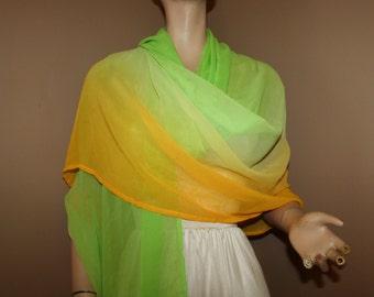 CLEARANCE Long Sheer Shawl Wrap Silky Ombre Shades from Orange to Yellow to Lime Green