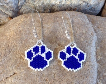 Navy Blue Peyote Beaded Paws