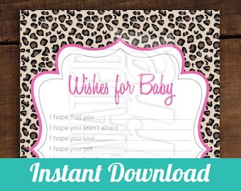 INSTANT DOWNLOAD - Wishes for Baby - Wish Cards, Perfect for Baby Showers, Leopard, Leopard Print, Pink, Jungle, Wishes
