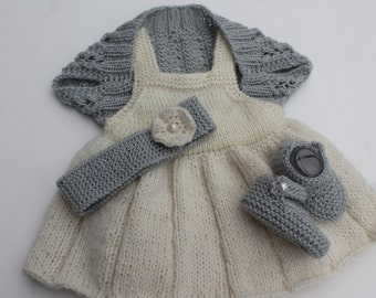 Hand Knit Baby Girl Set.