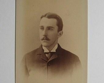 ON SALE Victorian 1800s Cabinet Card Photograph Sepia Handsome Man Gilbert & Bacon Philadelphia Collectible