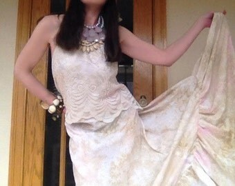 Dreamy Whipped Creme,Pink Cotton Candy & Sand Beige -One of a kind -Spring/Summer Music Festival Bohemian Prairie Goddess Maxi Dress