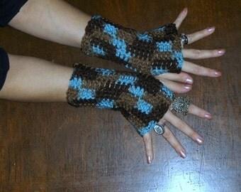 The Earth & Sky Fingerless Crochet Gloves. Boho Folk Victorian Arm Warmers sky blue, brown Bohemian Handmade Crocheted. Earthy folk Gloves