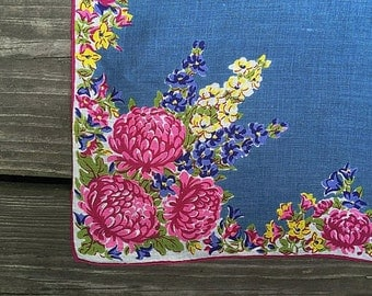 Large Vintage Handkerchief Blue & Pink Floral Handkerchief Hankie Rolled Edge Fall / Autumn Hankie Chambray Blue