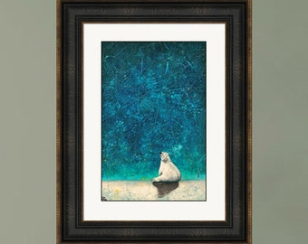 PRINT or GICLEE Reproduction -- Polar Bear and Stars, Northern Lights, Polar Bear Painting -- Wishing on Stars