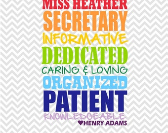 SCHOOL SECRETARY Subway Art Typography - Printable - personalized, administrative assistants day, secretary appreciation, school secretary