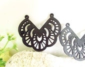 WP03 / #14 Black / Wood Filigree Lace Dangle For Earring/ Laser Cut Lace Charm / Pendant / Romantic Chic Bohemian Filigree Dangle